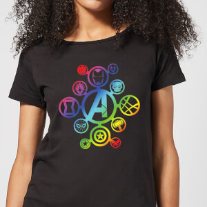 Avengers Rainbow Icon Dames T-shirt - Zwart