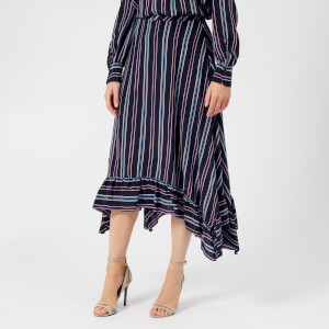 See By Chloé Women's Stripes Midi Skirt - Multicoloured Blue