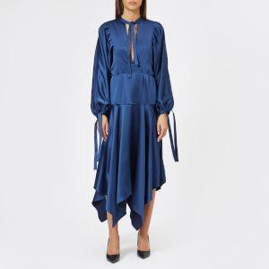 Self-Portrait Women's Satin Midi Dress - Navy
