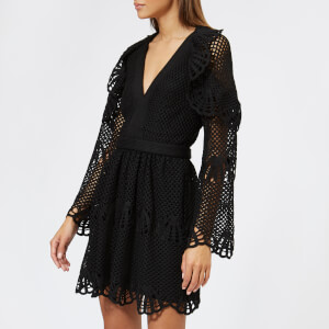 Self-Portrait Women's V Neck Crochet Mini Dress - Black