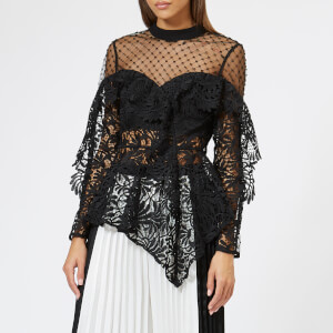 Self-Portrait Women's Lace Handkerchief Top - Black