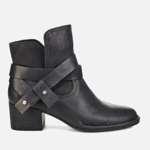 UGG Women's Elysian Leather Heeled Ankle Boots - Black
