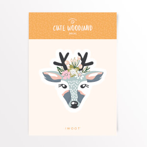 Cute Woodland Dear Vinyl Decal