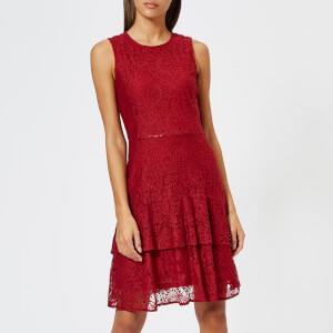 MICHAEL MICHAEL KORS Women's Lace Flounce Dress - Maroon