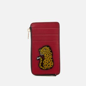 Les Petits Joueurs Women's Cardholder Zip Cheetah - Bordeaux Teatro Black