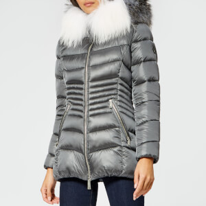 Froccella Women's Mid Quilted Parka - Grey/Multi Fur