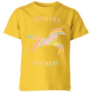 Unicorns Are Real Kids' T-Shirt - Yellow