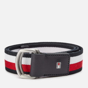 Tommy Hilfiger Men's D-Ring Webbing Belt - Navy/White/Red