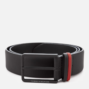 Tommy Hilfiger Men's Rubberised Metal Loop Belt - Black