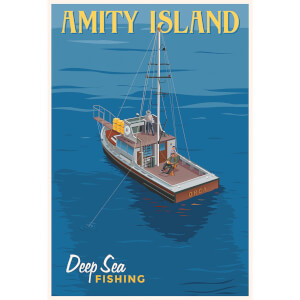 "Affiche Les Dents de la Mer ""Deep Sea Fishing"" par Steve Thomas - Édition Limitée 33 cm x 46 cm - Exclusivité SDCC"