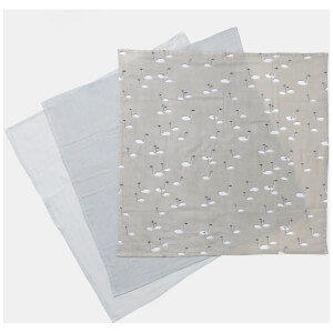 Ferm Living Muslin Squares - Swan Grey (Set of 3)