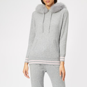 BKLYN Women's Cashmere Hooded Top - Light Grey/Baby Pink