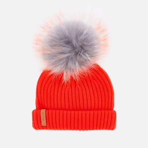 BKLYN Women's Merino Classic Pom Pom Hat - Grey/Orange