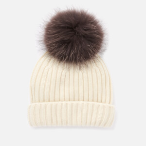 BKLYN Women's Cashmere Pom Pom Hat - Ivory/Brown