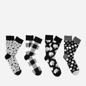 Happy Socks Men's Black & White Gift Box - Black - UK 7.5-11.5