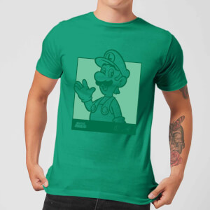 Nintendo Super Mario Luigi Kanji Line Art Men's T-Shirt - Kelly Green