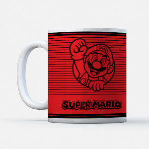 Nintendo Super Mario Retro Line Art Colour Tasse
