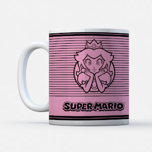 Nintendo Super Mario Princess Peach Retro Line Art Colour Tasse