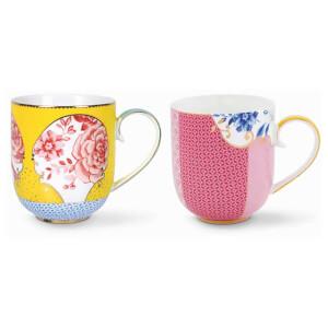 Pip Studio Large Mugs - Yellow/Pink (Set of 2)