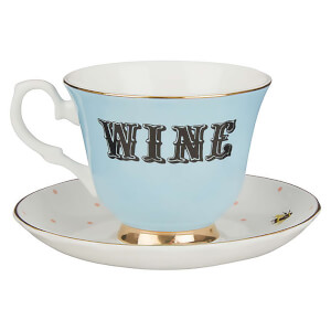 Yvonne Ellen Wine Teacup and Saucer - Blue