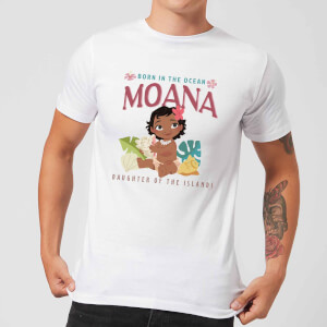 Disney Moana Born In The Ocean Men's T-Shirt - White