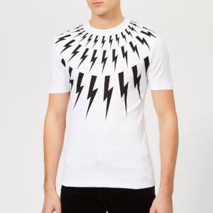 Neil Barrett Men's Fair Isle Lightning Bolt T-Shirt - White