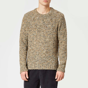 Folk Men's Mixed Yarn Crew Neck Jumper - Caramel Mix