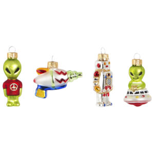 Sass & Belle Set of 4 Aliens Baubles