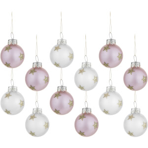 Sass & Belle Set of 12 Mini Gold Star Baubles - Pink & White