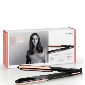 BaByliss Straight and Curl Brilliance Rose-Gold Hair Straightener - Brittisk stickkontakt