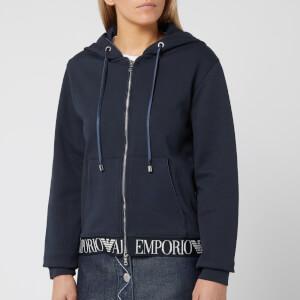 Emporio Armani Women's Logo Trim Zip Up Hoody - Navy