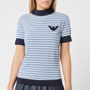 Emporio Armani Women's Stripe Short Sleeve T-Shirt - Light Blue
