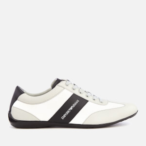 Emporio Armani Men's Zatch Leather Oxford Trainers - Plaster/Black/White