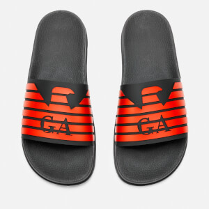 Emporio Armani Men's Zup Slide Sandals - Black/Black/Mandarin