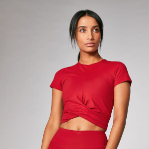 Power Short Sleeve Crop Top - Βυσσινί