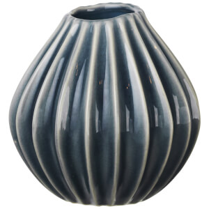 Broste Copenhagen Wide Ceramic Vase - Small - Blue Mirage