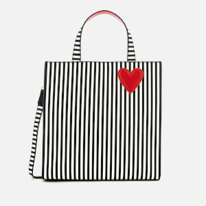 Lulu Guinness Women's Stripe Hearts and Lips Davina Tote Bag - Black/Chalk