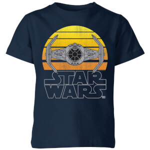 Star Wars Classic Sunset Tie Kinder T-Shirt - Navy Blau