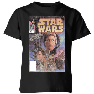 Star Wars Classic Classic Comic Book Cover Kinder T-Shirt - Schwarz