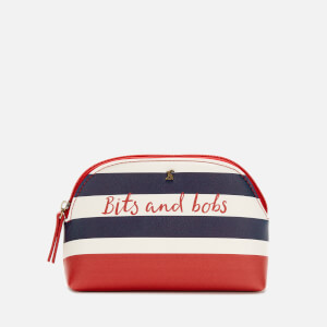 Joules Women's Short Haul Make Up Bag - Navy Stripe Text