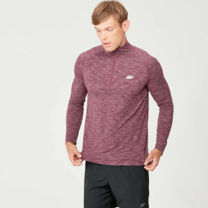 Tricou Performance cu fermoar - Burgundy