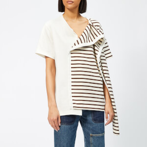 JW anderson Women's Striped Jersey T-Shirt with Draped Scarf - Chocolate Brown