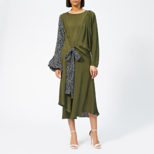 JW Anderson Women's Belted Polka Dot Sleeve Dress - Khaki