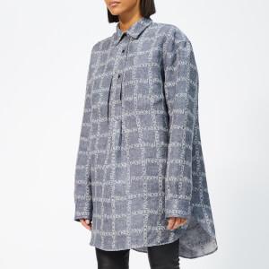 JW Anderson Women's Logo Grid Tunic Linen Shirt - Navy