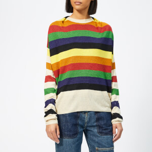 JW Anderson Women's Multi Colour Stripe Knit Jumper - Papaya