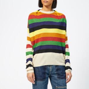 JW Anderson Women's Multi Colour Stripe Knit Jumper - Papaya