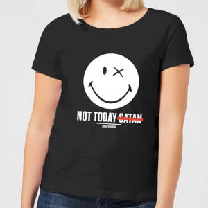 Smiley World Slogan Not Today Satan Women's T-Shirt - Black