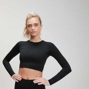 MP Women's Shape Seamless Ultra Long Sleeve Crop Top- Black