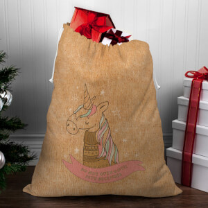 Winter Unicorn Christmas Sack