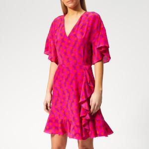 KENZO Women's Mini Fit & Flare Dress V Neck - Deep Pink